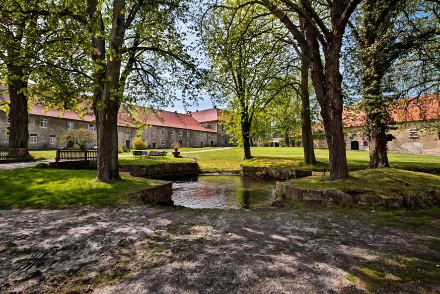 Blick durch Kastanienbäume auf die Gutsanlage von Rittergut Lucklum